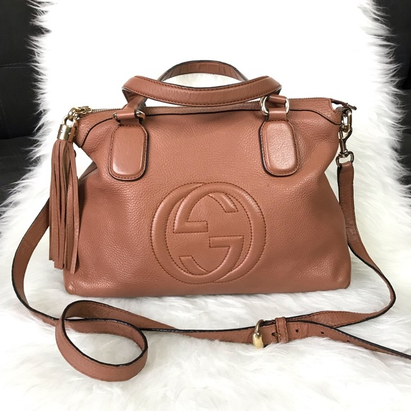 2f8f98332ae Gucci Handbags - Gucci Soho Convertible Top Handle Leather Satchel